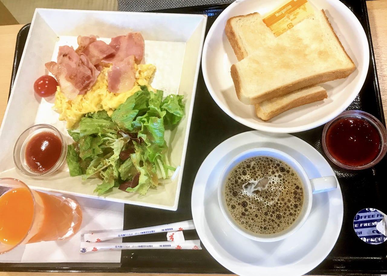 満天の湯の朝の洋定食